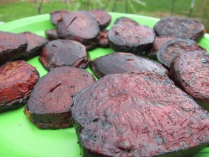 The beets, after grilling