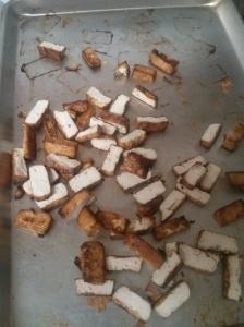 Tofu, halved